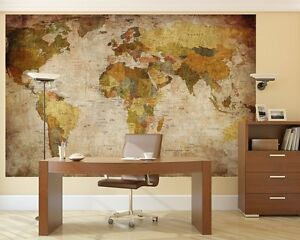 Image Is Loading Vintage World Map Mural Wallpaper Retro Wall Covering