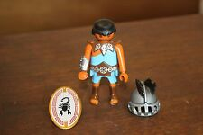 Playmobil Figure Egyptian Man Soldier Hat Shield Blue Black Hair