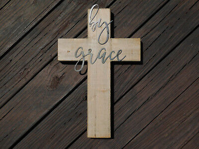 Grace Rustic Wooden Cross Wall Hanging