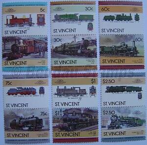 1985 St Vincent Ensemble # 5 Train Locomotive Chemin De Fer De Timbres (les Dirigeants Du Monde)