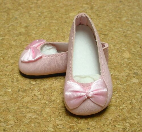 PINK 58mm Slip on Flats with Bow Doll Shoes