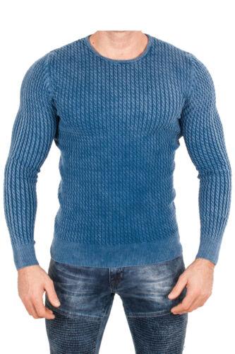 Xxl maglione Maglione maniche uomo lavorato a a Maglione maglione pesante maglia lunghe blu Rwaw75rq