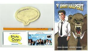 """""""The Office"""" used prop pencil + Sticky Quips and Adventures of Jim Halpert comic"""