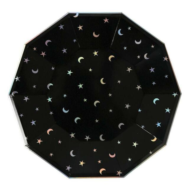 8 Meri Meri Black Stars and Moon Space Holographic Large Paper Party Plates