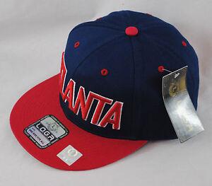 La imagen se está cargando LOGA-bordado-Atlanta-Azul-Marino-Rojo-Gorra -Beisbol- 47b85652eda