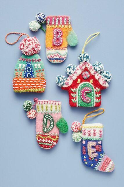 NEW Anthroplogie Bundled-Up Monogram Ornament Mitten Hat Sweater Alphabet LETTER