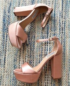 9510ee923e0 Steve Madden Gilda Peach Baby Pink Satin Chunky Platform Sandals ...