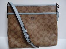 957214be0 Coach F29210 Zip File Crossbody Bag Signature Canvas Khaki Pale Blue ...