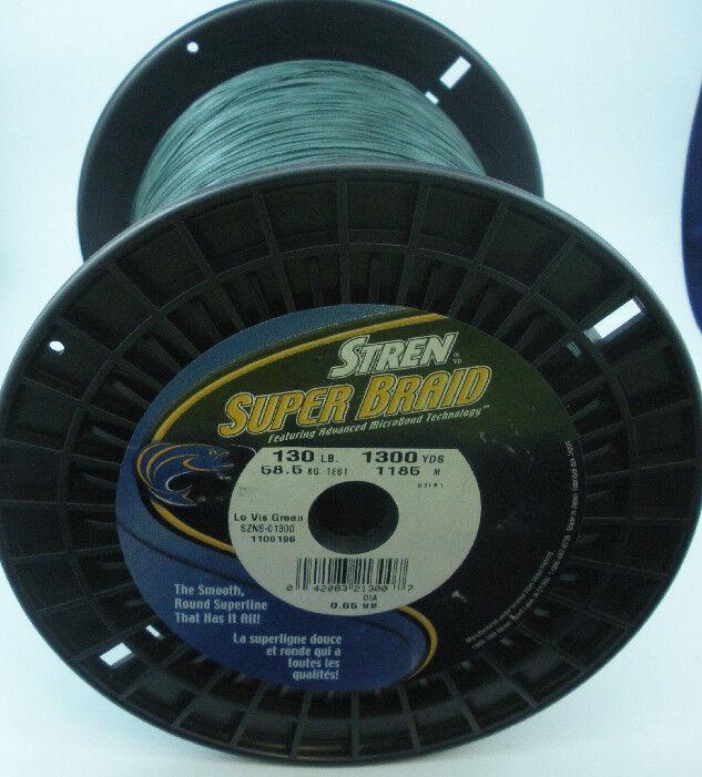 Stren SZNS130 130 Lb Super Braid Line BulkSpools 1300Yd Spool Lo Vis verde 10492