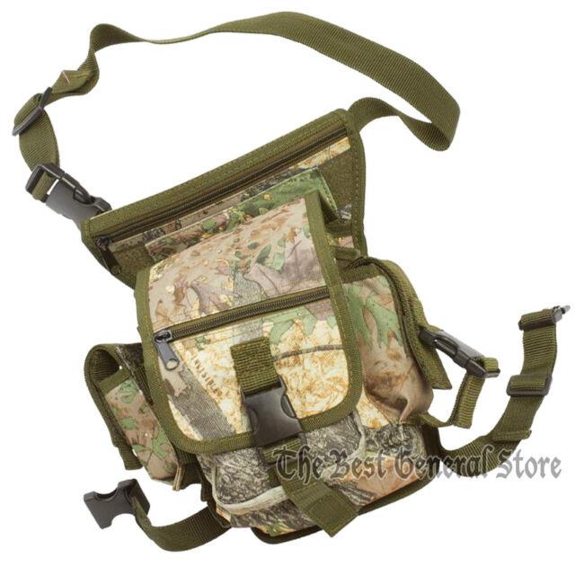 Forest Camo Waist Bag with Drop Leg Strap Emergency Gear Utility Multiple Pocket