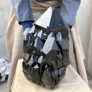 Rare  52.8LB Natural smoky black quartz Cluster Vug crystal point Specimen T145