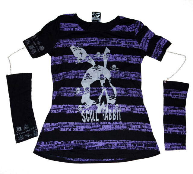 PUNKRAVE - Scull Rabbit - VISUAL KAI PUNK Shirt + ARMSTULPEN an Ketten - Größe M