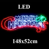 Animated Large Led 148cm Wide Merry Christmas Sign Motif Christmas Rope Lights