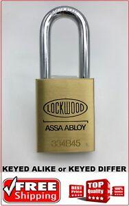 Lockwood Padlock 334b45 Commercial Grade 48mm Boron Steel Shackle Easy Key Alike