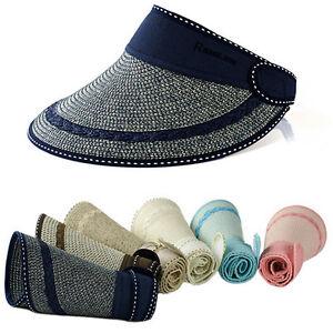 Woman-039-s-UV-Protection-Wide-Brim-Foldable-Roll-Up-Cap-Sun-Visor-Beach-Straw-Hat