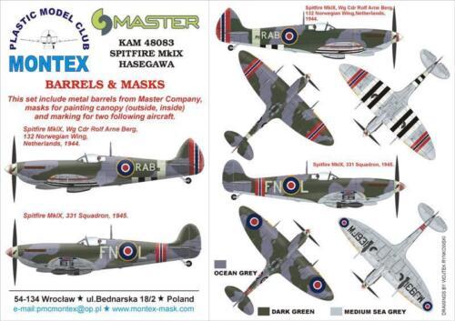 Montex KAM 1:48 Spitfire Mk.IX #1 for Hasegawa Mask Metal Part #KAM48083