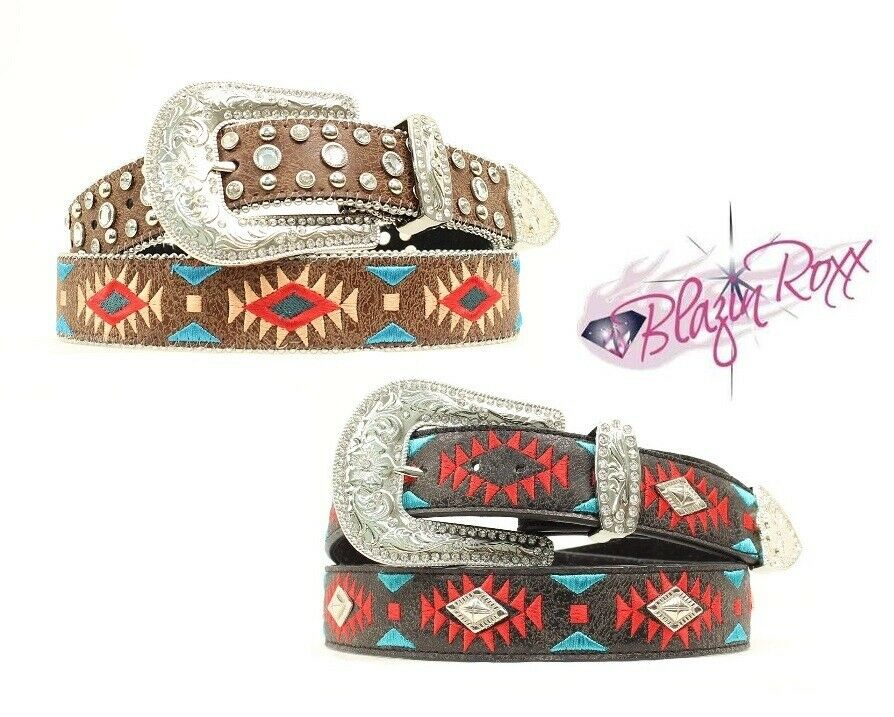 Ladies SOUTHWEST Style Leather BELT -Blazin' Roxx- Embroidery Crystals Silver 16