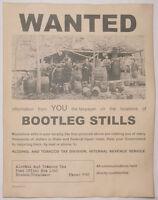 Bootleg Stills Wanted Poster, Bootleg, Moonshine, Moonshiner, Bootlegger
