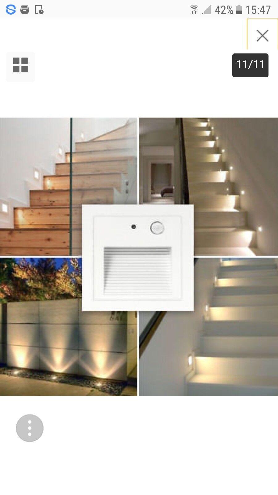 12x LED Wandeinbaustrahler mit Bewegungsmelder