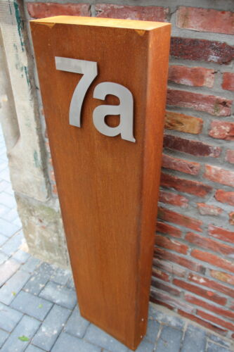 Cortenstahl Corten Stahl Stele Edelrost Edelstahl Schilder Ziffern Hausnummern