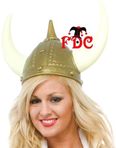 Viking Helmet Gold with Plastic with Horns Pack of 5 or Pack of 10