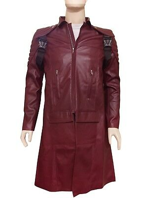 Devil May Cry DMC Pleather Coat Jacket Dante Game Costume Cosplay XS-4XL