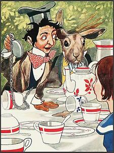 PAINTING-BOOK-ALICE-WONDERLAND-CARROLL-ROBINSONS-MAD-HATTER-PRINT-POSTER-LF291