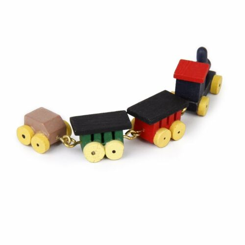 1//12 Doll house Miniature Wooden Carriages and Train Toy Set K3X5