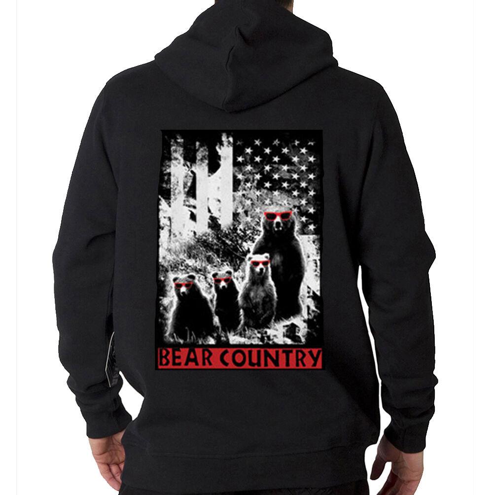 Bear Country USA American Flag Freedom Funny Animal Hooded Sweatshirt Hoodie