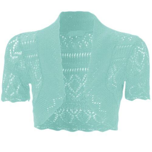 Kids Short Sleeve Crochet Knitted Bolero Shrug Teen Girls Cardigan Top Ages 2-13