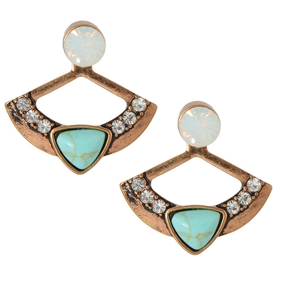 HK- BH_ FX- Women Fan Shape Turquoise Rhinestone Front Back Ear Jacket Stud Earr Earrings