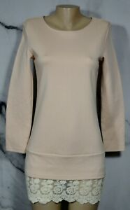 SHEIN-Apricot-Beige-Dress-Small-Long-Sleeves-Lace-Hem-Exposed-Zipper-at-Back