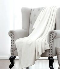 PURE WHITE SOLID VERSATILE SUPER SOFT WARM MICROPLUSH SMALL THROW BLANKET