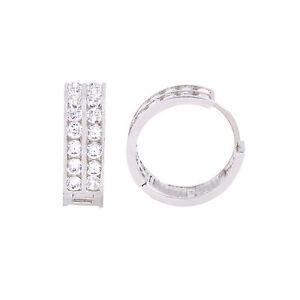 406e79c63da2d Details about Huggie Hoop Earrings Cubic Zirconia .925 Sterling Silver 2  Row 18mm Clear