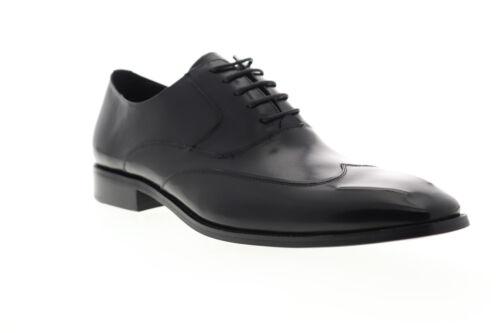 Carrucci Wingtip KS142-04 Mens Black Leather Dress Lace Up Oxfords Shoes