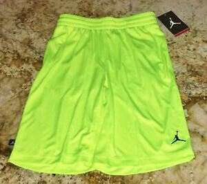 dc283f191459 Image is loading NIKE-JORDAN-Jumpman-Bright-Volt-Yellow-Basketball-Shorts-