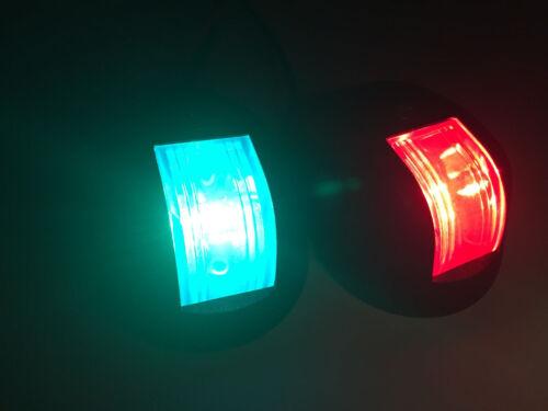 MARINE BOAT PAIR OF GREEN RED NAVIGATION SIDE LIGHT BLACK NYLON HOUSING 12V 10W