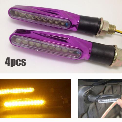 4 pcs Universal Motorcycle LED Turn Signals Indicator Light Warning Lamp Amber