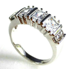 Para mujer chapado en oro blanco cristal claro Anillo UK Tamaño L