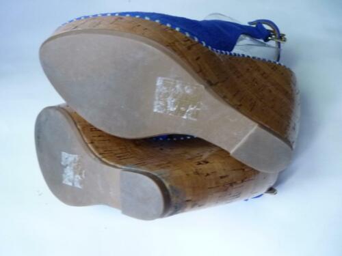 DOLCE VITA ROYAL BLUE SUEDE VEDGE PLATFORM SHOES SANDALS 6 M