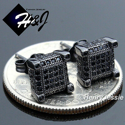 MEN WOMEN 925 STERLING SILVER 5MM ICY DIAMOND SQUARE GOLD 3D STUD EARRING*106