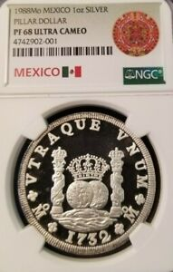1988-MEXICO-SILVER-1-ONZA-PILLAR-DOLLAR-NGC-PF-68-ULTRA-CAMEO-VERY-SCARCE-ISSUE