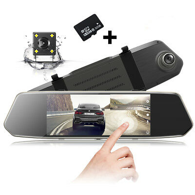"TOGUARD 1080P Dual Lens Mirror DashCam 7"" IPS Touch Screen Rear View Camera+32GB"