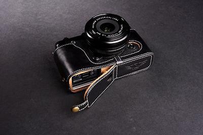 Genuine Real Leather Half Camera Case Bag for FUJIFILM XE1 XE2 XE2S Bottom O B