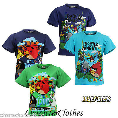 New Boys Character ANGRY BIRDS T-shirt Kids Cartoon Short Sleeve Top Age 4-12