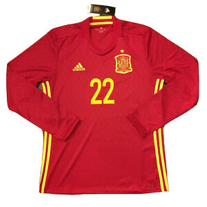 Details about 2016/17 Spain Home Jersey #22 ISCO Medium Adidas Football Long Sleeve NEW