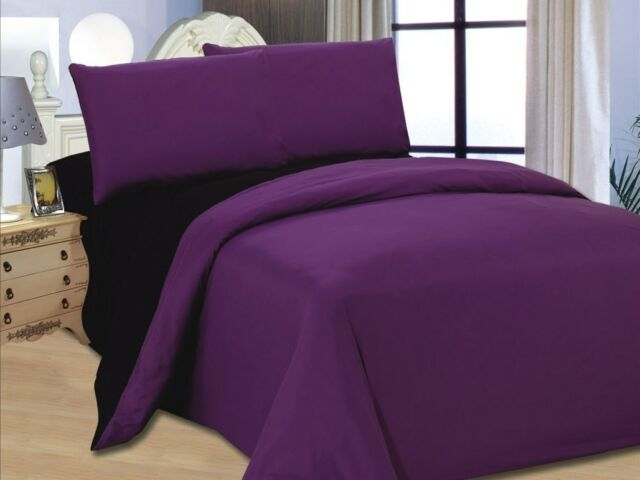 4 PCS COMPLETE REVERSIBLE DUVET COVER & FITTED SHEET BED SET