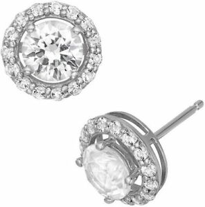 b8d30c7a7 Image is loading PRIMROSE-Sterling-Silver-Cubic-Zirconia-Halo-Stud-Earrings-