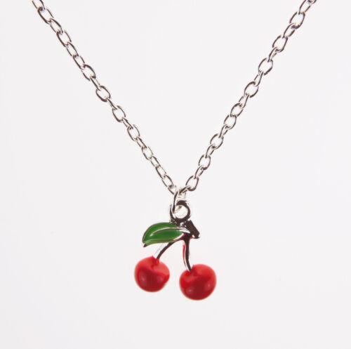 Cherry Necklace Retro 50s Kitsch Fruit Rockabilly Vintage Burlesque Jewellery