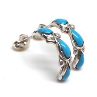Zuni Turquoise Sterling Silver Half-ring Post Earrings - Bryce Vacit